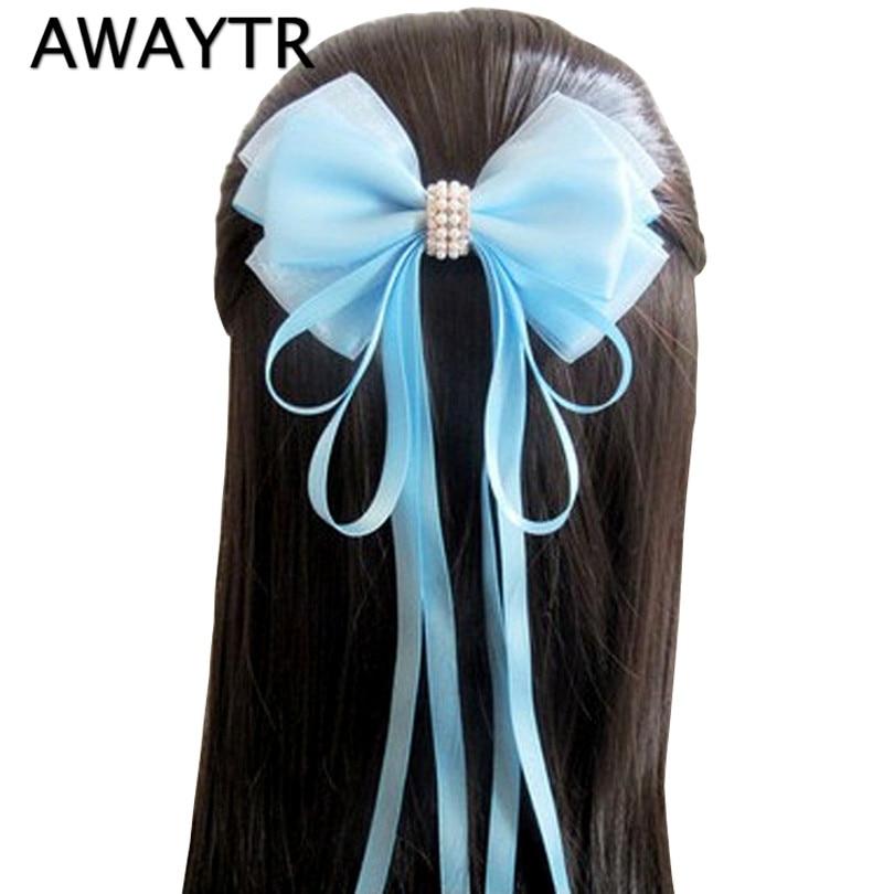 AWAYTR 1 Pcs 4.72'' Big Hair Bow Girls Solid Ribbon Hair Bows With Clip Boutique Hair Clip Hairpin Hair Accessories Kids Hairpin
