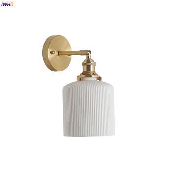 IWHD Nordic ceramiczne oświetlenie naścienne LED lustro łazienkowe sypialnia nowoczesny styl japoński klasyczna ściana kinkiet LED Wandlamp oświetlenie tanie i dobre opinie Do montażu na ścianie Żarówki led Dół Japan style Metrów 15-30square Kinkiety Miedzi Pokrętło przełącznika LED Edison 4W