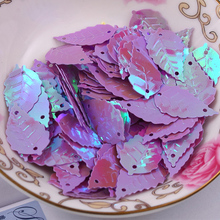 Free shipping 300pcs/lot  13*22mm Leaf with 2 holes sequins Violet colors Jewelry Accessories cloth crafts confetti clothing