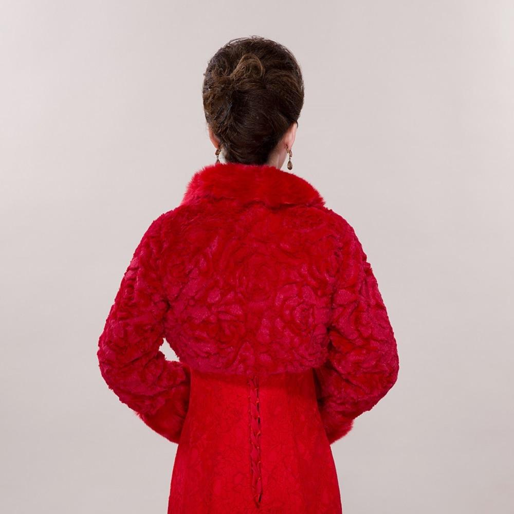Elegante Warme Rote Rose Braut Wraps Kunstpelz Bolero Jacke Mantel ...