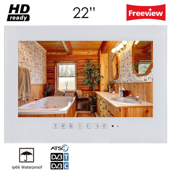 Souria 22' inch Luxury Hotel Waterproof Bathroom Television Home HD Kitchen LED TV Mounting Flat Screen (Black/White)