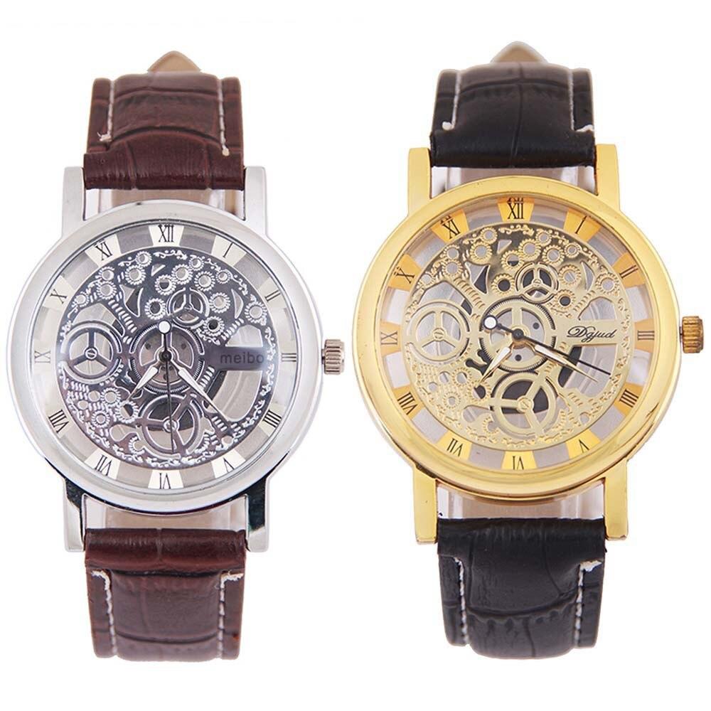 2019 Fashion Men Mechanical Gear Watch Stainless Steel Gold Quartz Wrist Watch Montre Homme Relogio Male Watch Clock QC7