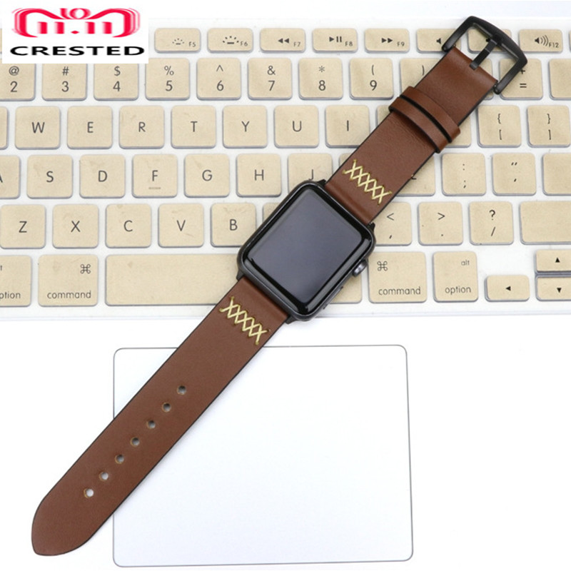 CRESTED Leather Crazy Horse strap For Apple watch 4 band 44mm 40mm Iwatch series 4 3 2 1 42mm/38mm wrist watchband bracelet belt цена 2017