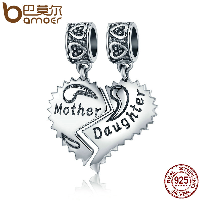 BAMOER 100% 925 Sterling Silver Mother and Daughter Love Forever Pendant Charms fit Bracelets Necklace Jewelry Making SCC427 mom love daughter forever with 100