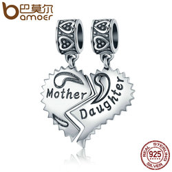 BAMOER 100% 925 Sterling Silver Mother and Daughter Love Forever Pendant Charms fit Bracelets Necklace Jewelry Making SCC427
