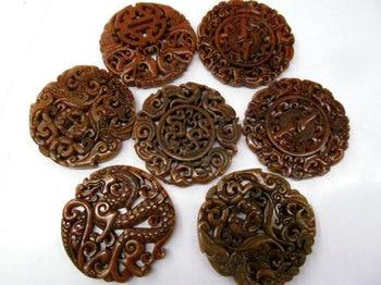 6pcs larger Handmade Ancient Jade Pendant Rare Animals Carved Jade Gemstone Bead