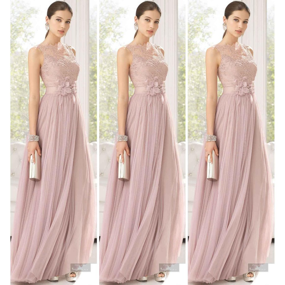 2015 Line Bridesmaid Dresses Pink Sheer Neck Lace Tulle Prom Gown vestido de madrinha casamento longo Wedding Party - Weddings & Events Collection store