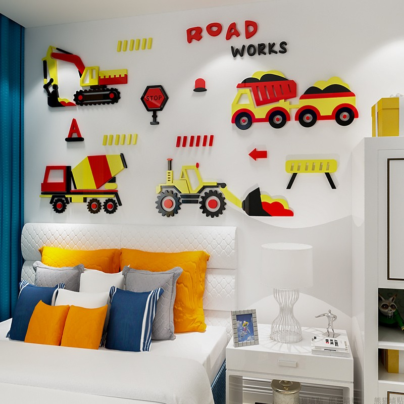 2018 new 3D cartoon car Acrylic stereo wall stickers for baby boys 39 room bedroom nursery wall stickers in Wall Stickers from Home amp Garden