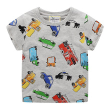 Jumping meters baby boys summer clothes printed some cute cars kids cartoon t shirts new designed cotton tops 2-7T 2019