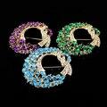 Splendid Fashion Women's Elegant Luxury Moon Flower Alloy Rhinestone Crystal Brooches