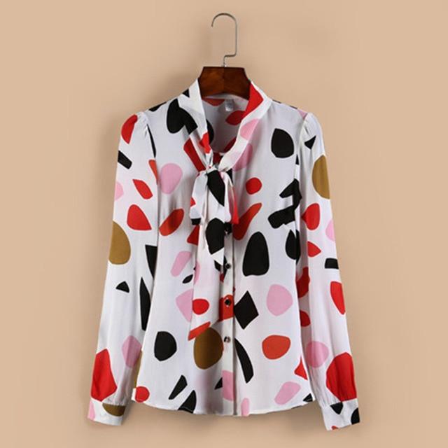 New arrival fashion  Chiffon Shirt Long Sleeve  polka dot women blouses casual bow lady shirt large size DD2357 5