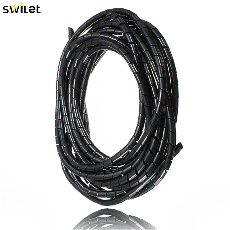 Good Quality 5M 16 Feet Spiral Wire Organizer Wrap Tube Flexible Manage Cord for PC Computer Home Hiding Cable 4-50MM l1 5m d16 22 28mm spiral wire organizer wrap tube flexible management wire storage for pc computer cord protector cable winder