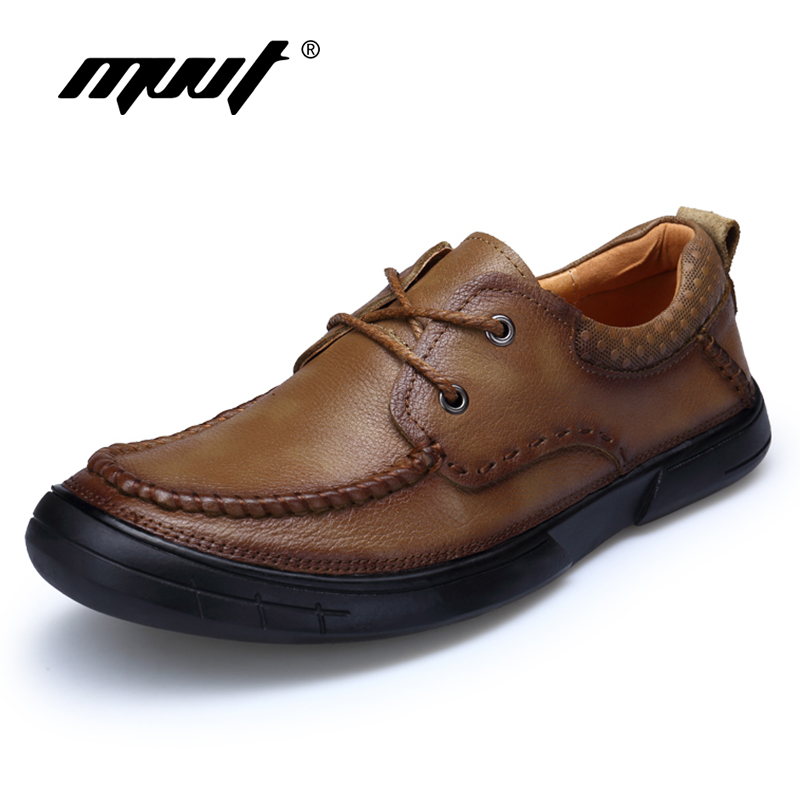 MVVT Handmade Genuine Leather Shoes Men Casual Shoes Soft Leather Men Loafers Top Quality Breathable Men Flats Summer Shoes