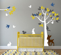 Nursery Tree Branches With Flying Birds And Cute Rabbit Wall Decals Kids Baby Bedroom Art Decor HUge Tree Vinyl Sticker D-325