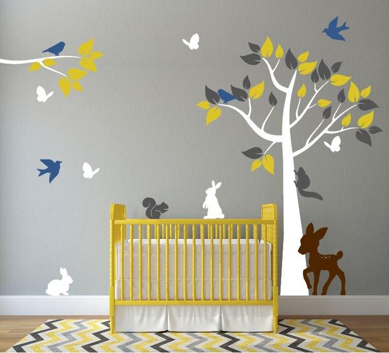 Pépinière arbre Branches avec oiseaux volants et mignon lapin stickers muraux enfants bébé chambre Art décor énorme arbre vinyle autocollant D-325
