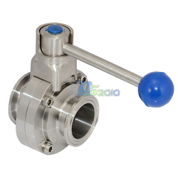 MEGAIRON 1-3/4 Pipe OD 45mm SS316 Sanitary Butterfly Valve Ferrule OD 64mm Fit 2 Tri Clamp megairon 1 set 1 1 4 dn32 stainless steel ss316 sanitary female threaded ferrule od 64mm 2 tri clamp gasket