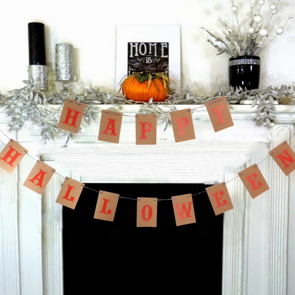Vintage halloween paper decorations - 5pcs Lot Vintage Kraft Paper Banner For Halloween Party Decoration Photo Props Sign Door Fireplace Fall