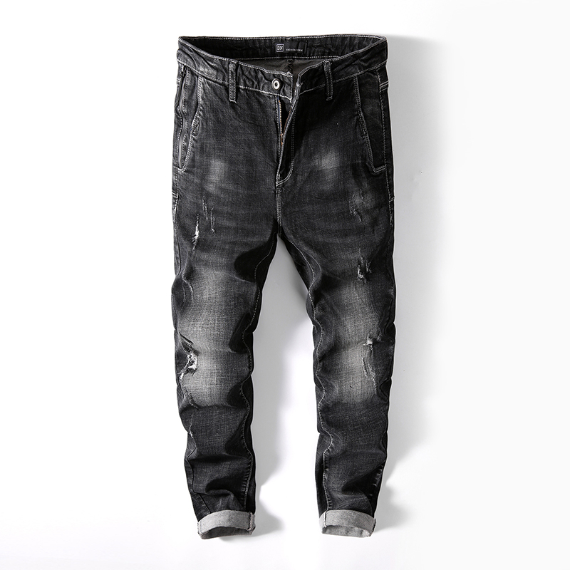 Men Jeans Casual Denim Pants Classic Whiskering Straight Jeans Masculina Male Denim Trou ...