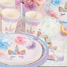 Qifu 유니콘 팔찌 일회용 접시 컵 유니콘 생일 파티 장식 유니콘 파티 용품 베이비 샤워 세례 unicornio