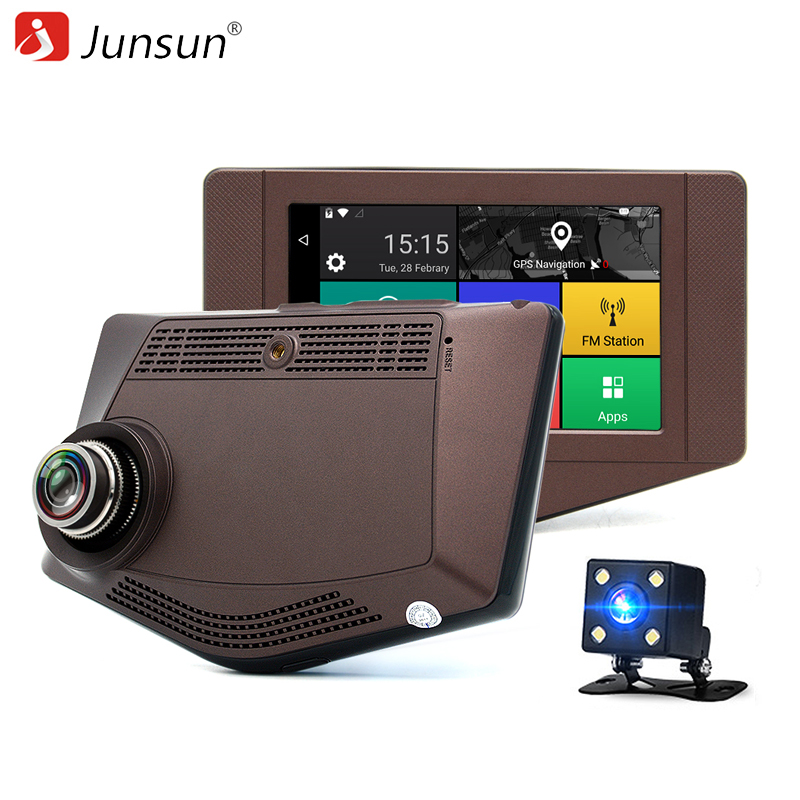 Junsun 3G Car DVR Camera Dash Cam Android 5.0 GPS Navigation Dual len Rearview Wifi Full HD 1080P Video Recorde DVRs Automobile junsun wifi car dvr camera video recorder registrator novatek 96655 imx 322 full hd 1080p dash cam for volkswagen golf 7 2015