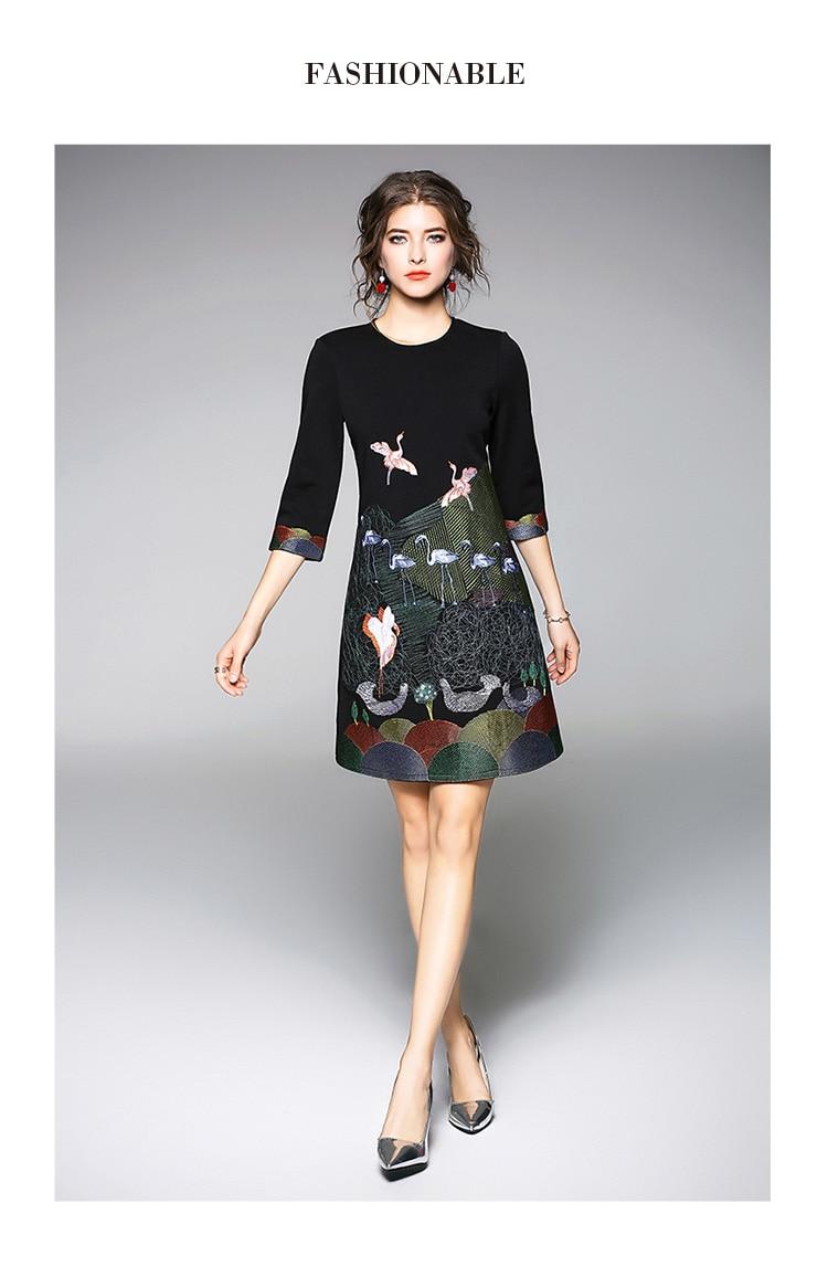 Vintage Embroidery 3/4 Sleeve Office Dress 4