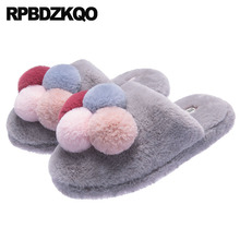 5c82141759e casual fuzzy winter slides bedroom fashion shoes 2018 women faux fur  slippers pom indoor plush cartoon