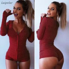 S-XXXL New Women Jumpsuit Sexy Lady V Neck Long Sleeve Bodycon Bandage Rompers Plus Size Black Tight Bodysuit Laipelar