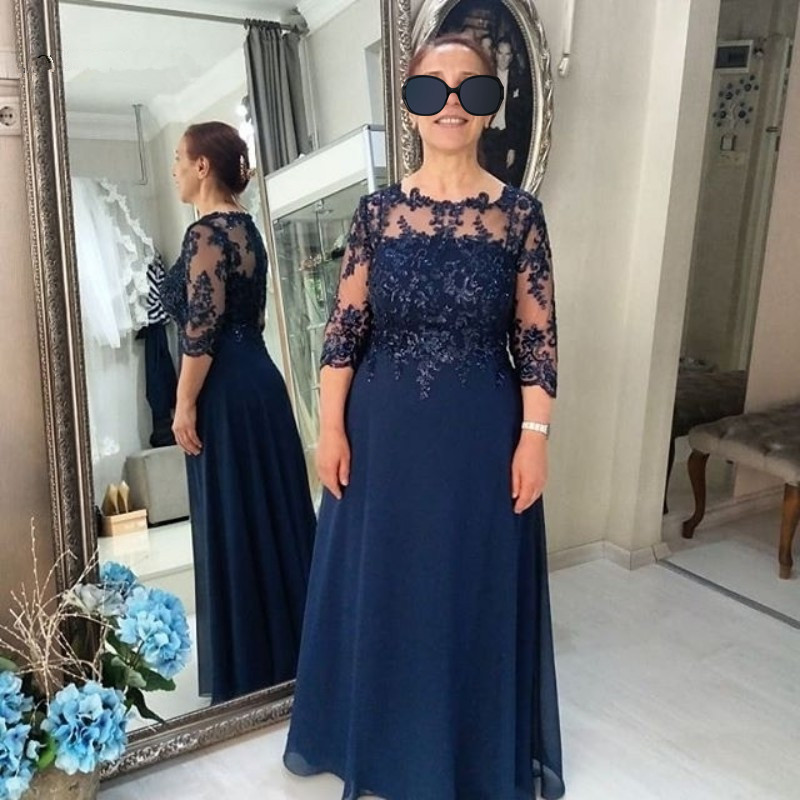 Prom Dresses 2019 Lace Sheer Mother Of The Bride Dresses Formal Arabic Party Gowns With Long Sleeves Custom Made
