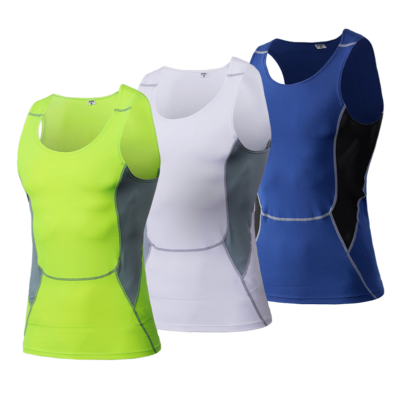 3 Pcs Bodybuilding Basketball Running Vest Men Fitness Tight Sleeveless Shirt Gym Clothing Quick Dry White Mens Sports Vest