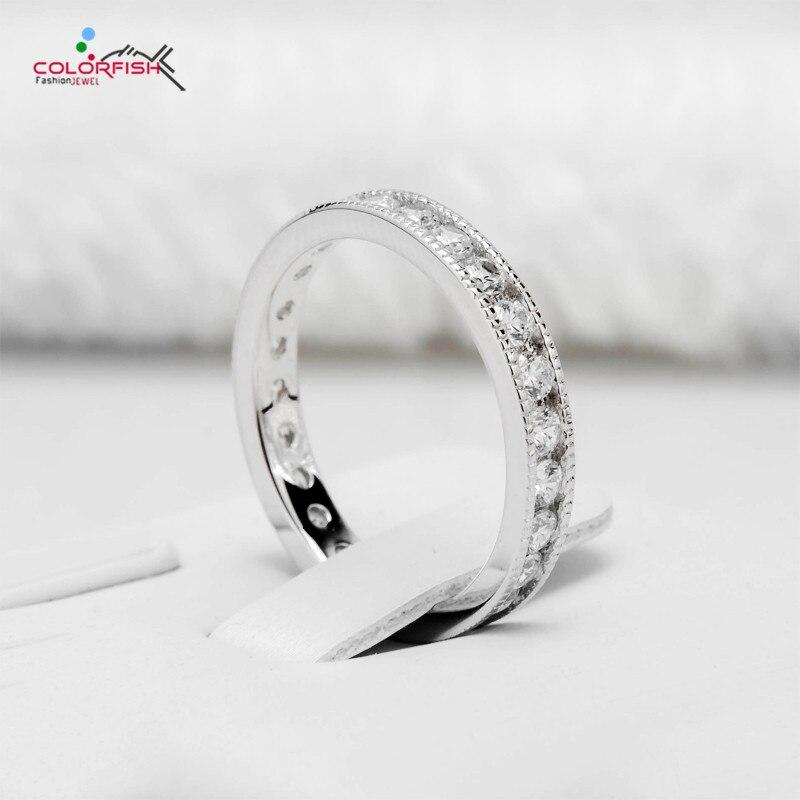 COLORFISH solide 925 bague d'éternité en argent Sterling brillant rond Zircon cubique 3mm de large bague de mariage pour les femmes
