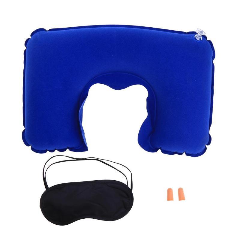 3psc/набор, новая u-образная подушка для шеи, для путешествий, автомобиля, для воздушного полета, надувные подушки, поддержка шеи, подголовник, подушка с крышкой для глаз, беруши - Цвет: Royal Blue