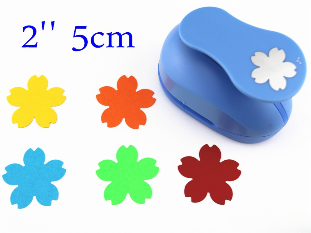 free ship large 2'' 5cm Cherry blossoms paper punches for scrapbooking craft perfurador diy puncher paper circle cutter3178