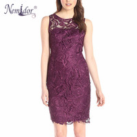 Nemidor High Quality 2016 Women Elegant Patchwork O Neck Lace Dress Vintage Sleeveless Bodycon Party Midi