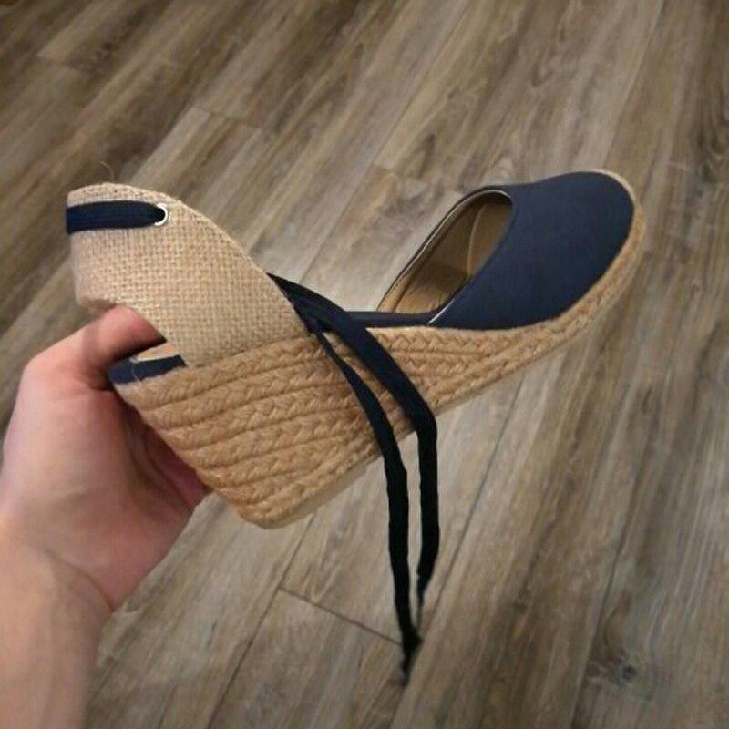 Women Ankle Strap Espadrilles Wedge Sandals 2018 Summer Canvas High Heel Fashion Lace up Women Platform Wedge Sandals Large Size (32)