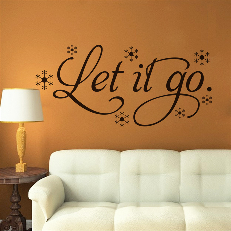 let it go quotes snowflakes wall stickers for kids room bedroom home decoration removable art decals vinyl black