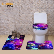HUGSIDEA New Galaxy 3D Universe Space Stars Toilet Seat Cover Set WC Holder Closestool Lid Floor Mat Soft Warm Toilet Cushion
