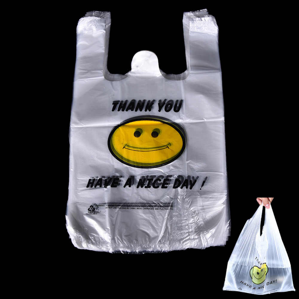 100pcs/lot White Food Grade Transparent PE Plastic Shopping Bag / Vest Shopping Bags / Supermarket Retailing Bags 20x32cm