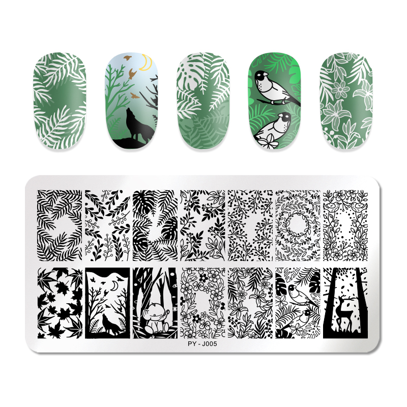 PICT YOU Rectangle Leaves Design Nail Stamping Plates 12cm * 6cm Flower Patterns Natural Stamp Nail Art Image Templates