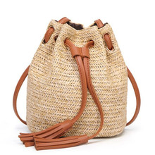 2019 New Beach Solid String Mini Bucket Bags Female Summer Knitting Straw Bags Sweet Hot Casual Holiday Crossbody Bag Handbags