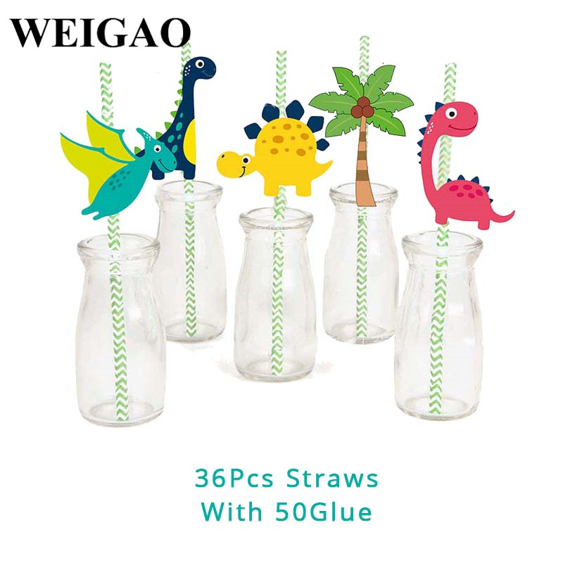 Image 2 - WEIGAO Dinosaur Party Decor Kids Dino Birthday Party Decor Disposable Paper Drinking Straws Kids Birthday Party Foil Balloons-in Disposable Party Tableware from Home & Garden