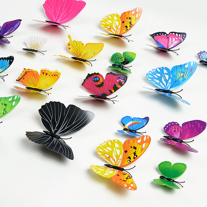 12Pcs/set 3D PVC Butterfly Wall Stickers Home Decor Butterfly Wall Decals For Kids Room Wall Stickers Kitchen Kids Wall Sticker
