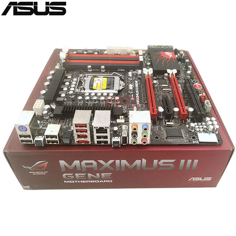 original New Desktop motherboard For ASUS Maximus III Gene P55 mother board Socket LGA1156 4*DDR3 support 16G 7*SATA2 ATX maximus vii gene