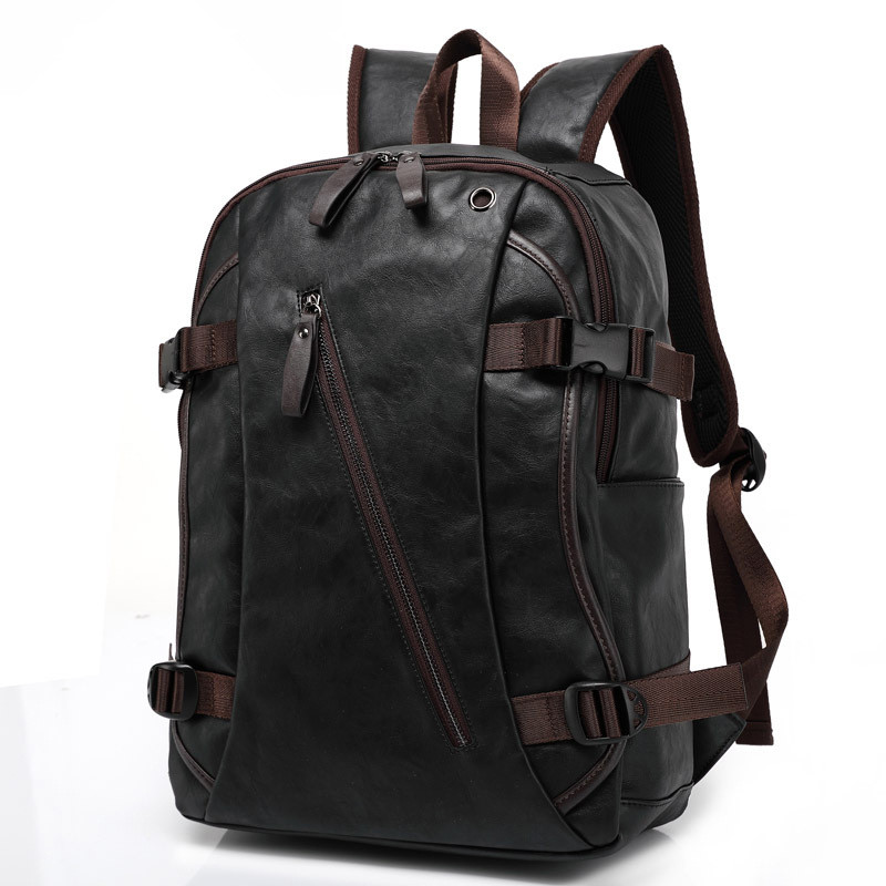 ФОТО Fashion Men Business Casual School PU Synthetic Faux Leather Laptop Backpack High Quality Travel Backpacks Daypack Mochila