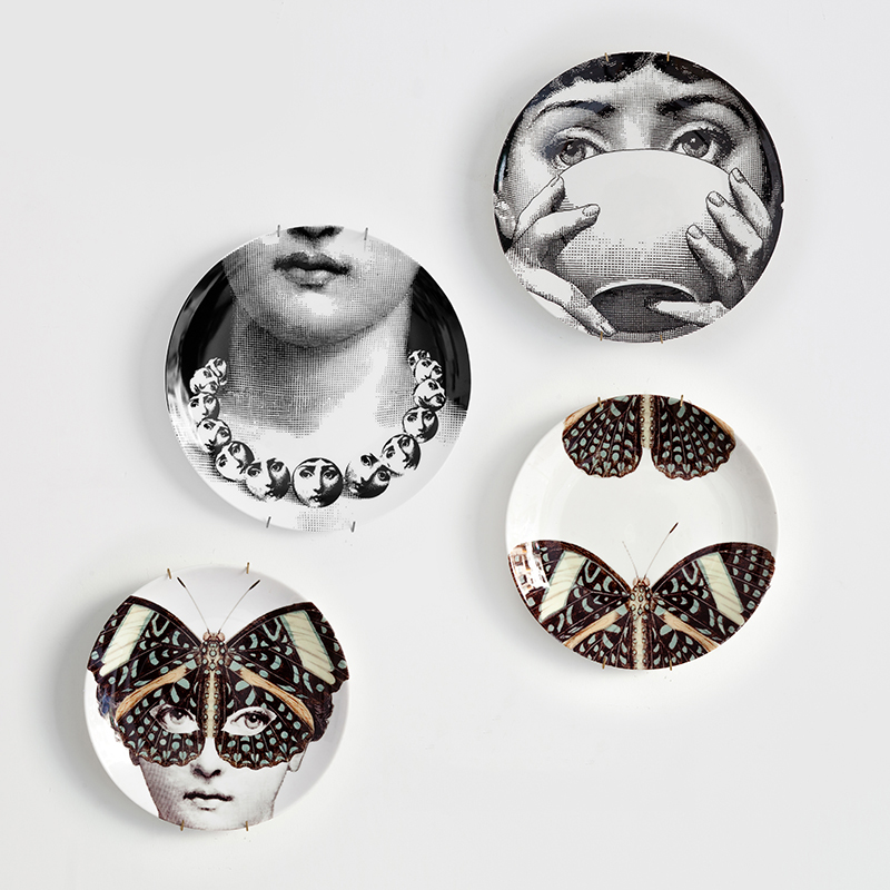 Milan Style Goregous Rare Fornasetti Plates Nordic Style Wall Hanging Decorative Dish Creative Ceramic Craft