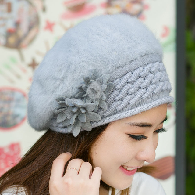 e96f06687d390 Winter Ladies Berets Fashion Female French Beret Hat Women Flat Cap for Girls  Crochet Knit Wool