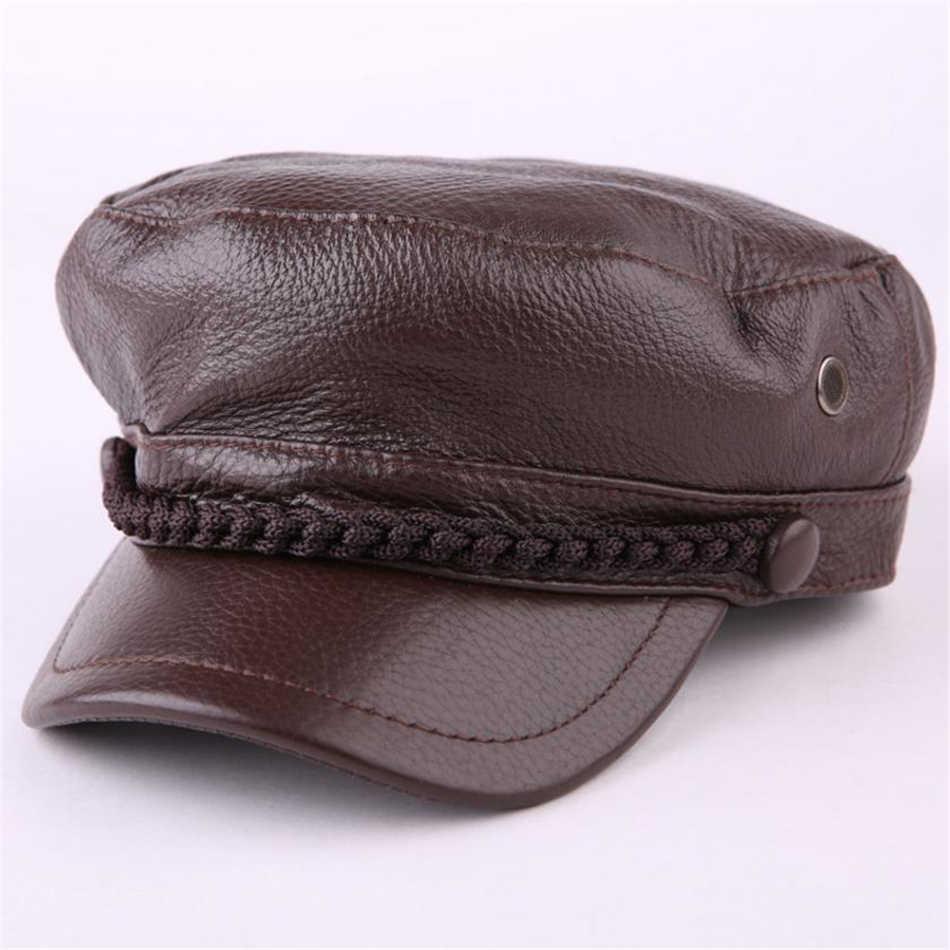 BUTTERMERE/женская и Мужская Черная военная шляпа из натуральной кожи в винтажном стиле для мальчика плоская шляпа Матросская осенне-зимняя брендовая армейская Кепка