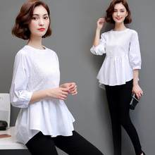 Women ruffles cotton blouses women cotton peplum tops peplum blouses 2018 short sleeve hollow out white cotton shirts AF613(China)
