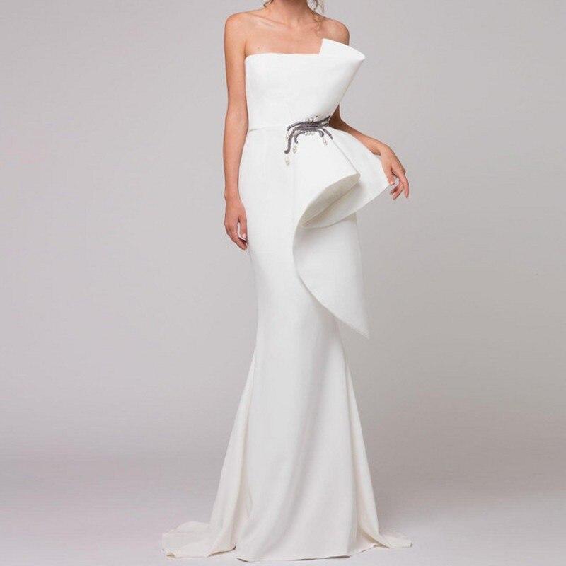 Élégante Robe de soirée Robes de Soirée Sash robe de festa Pure Volants Robes de Soirée Perlées Blanc Sirène Longues abendkleider