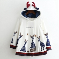 2018 autumn Capes & Ponchos hooded coat printed Giraffe loose Shawl jacket white Cape batwing sleeve