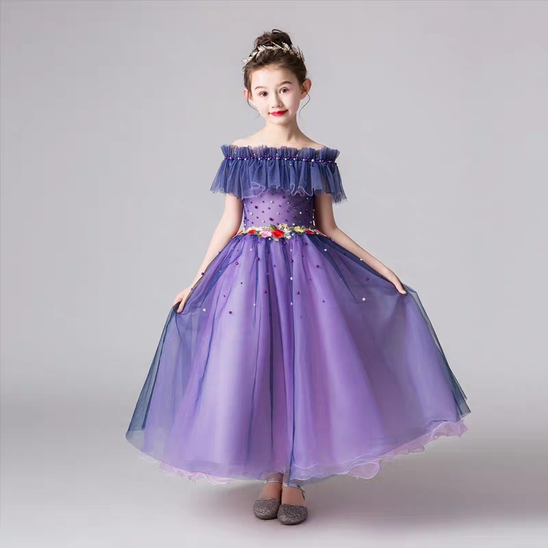 Children Kids Elegant Shoulderless Collar Purple Birthday Evening Party Long Dress 2019Summer Luxury Girls Piano Costume Dress